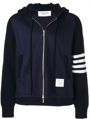 Thom Browne ribbed knit hooded jacket