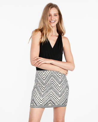 Express Petite Embroidered Sequin Mini Skirt