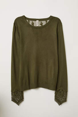 H&M Sweater with Lace Details - Green