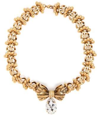 Rodarte Crystal-embellished bow brass necklace