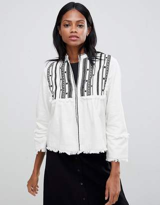 Whistles Embroidered Jacket with Raw Trim