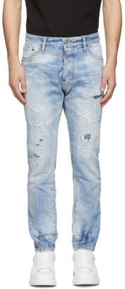 DSQUARED2 Blue Light Piranha Cigarette Jeans