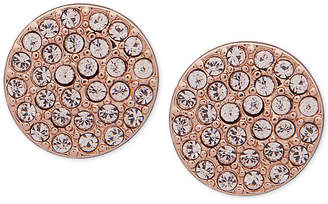 DKNY Rose Gold-Tone Pave Disc Stud Earrings