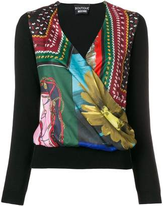 Moschino print wrap front sweater