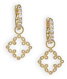 Jude Frances Women's Classic Diamond& 18K Yellow Gold Open Clover Marquis Earring Charms