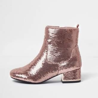 River Island Girls pink metallic sequin block heel boots