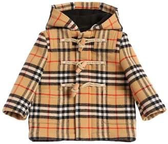 Burberry Hooded Wool Check Duffle Coat