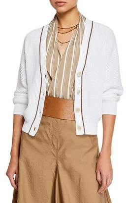 Brunello Cucinelli Cropped Ribbed Cotton Sweater
