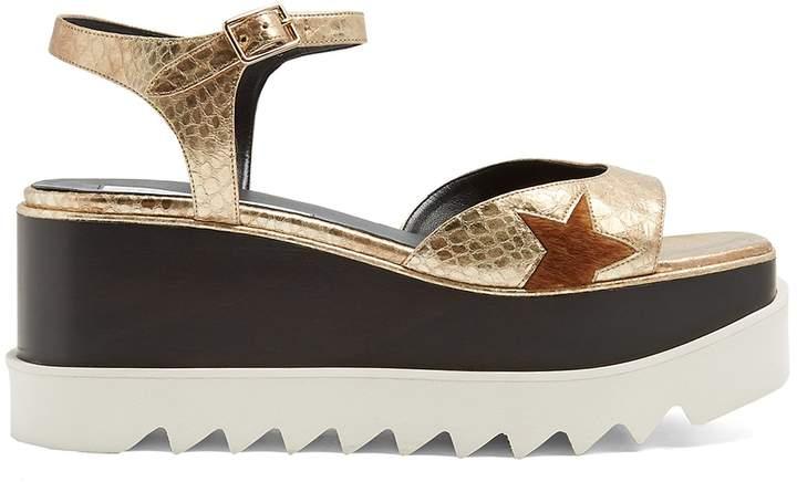 STELLA MCCARTNEY Elyse python-effect faux-leather platform sandals