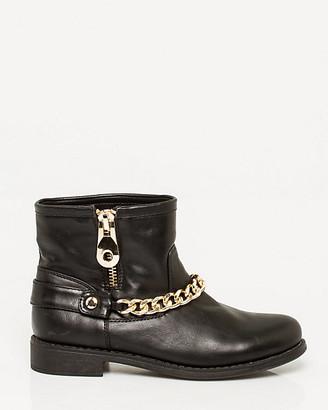 Le Château Leather-Like Almond Toe Ankle Boot