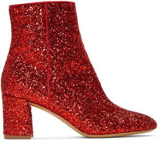 Mansur Gavriel Red Glitter Boots