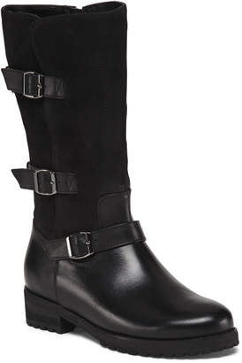 Waterproof Leather Triple Buckle Boots