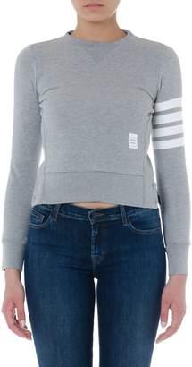 Thom Browne Grey Cotton Striped Sweatshirt