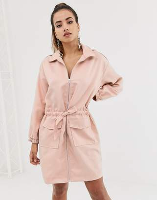 Missguided oversized shirt dress with zip through in pink