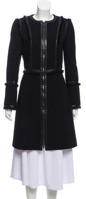 Andrew Gn Leather-Trimmed Virgin Wool Coat