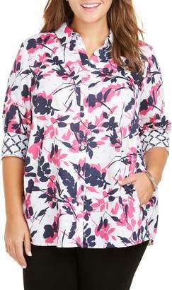 Foxcroft Carlene Brushstroke Floral Shirt
