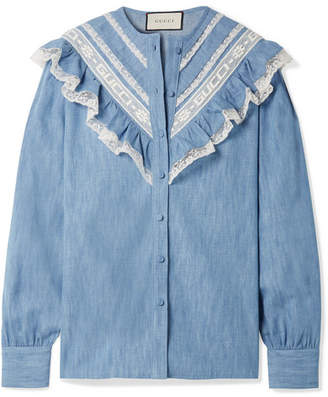 Gucci Lace-trimmed Cotton-chambray Shirt - Light blue