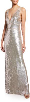 Jenny Packham Sleeveless Sequined Deep V Gown