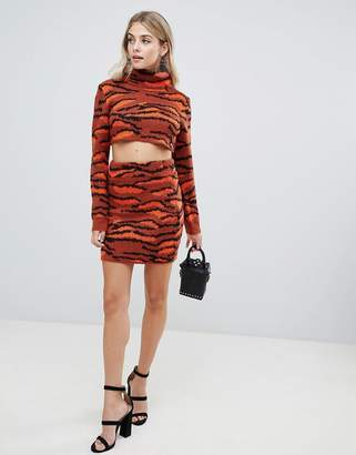 Missguided knitted mini skirt in tiger print