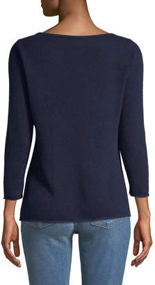 Neiman Marcus Cashmere Boat-Neck Pullover Sweater, Navy
