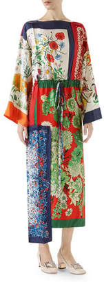 Gucci Long-Sleeve Multipattern Floral-Print Patchwork Silk Caftan with Uneven Hem