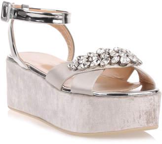 Giuseppe Zanotti Grey velvet platform sandal