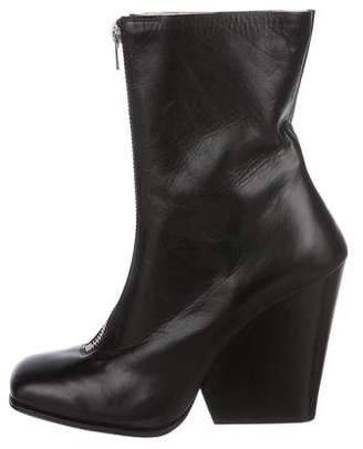 Celine Leather Square-Toe Ankle Booties