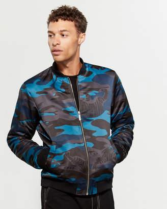 Versace Camouflage Full-Zip Bomber Jacket