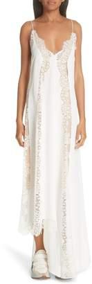 Stella McCartney Lace Panel Asymmetrical Silk Dress