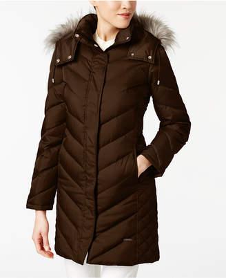Kenneth Cole Hooded Faux-Fur-Trim Down Chevron Puffer Coat