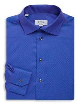 Eton Contemporary-Fit Printed Cotton Dress Shirt