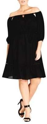 City Chic Plus Darling Diva Off-the-Shoulder Dress