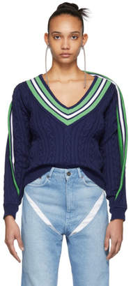 Y/Project Navy V-Neck Sweater