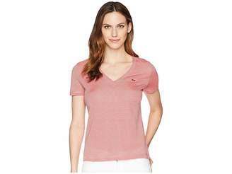 Lacoste Short Sleeve Classic Ottoman Jersey Milleraies Stripes V-Neck T-Shirt Women's T Shirt