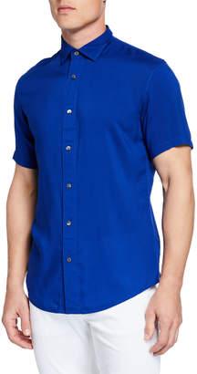 Emporio Armani Men's Short-Sleeve Woven Viscose Shirt