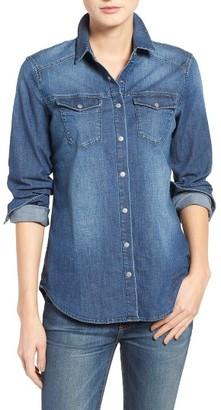 Women's True Religion Brand Jeans Georgia Denim Shirt $139 thestylecure.com