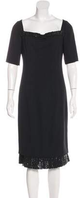 Valentino Sequin-Embellished Virgin Wool Dress
