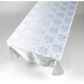 """Carnation Home Fashions Rose Damask"""" 60""""x108"""" Fabric Tablecloth in White"""