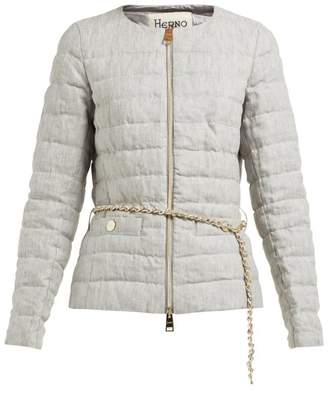 Herno Zip Through Quilted Linen Jacket - Womens - Grey