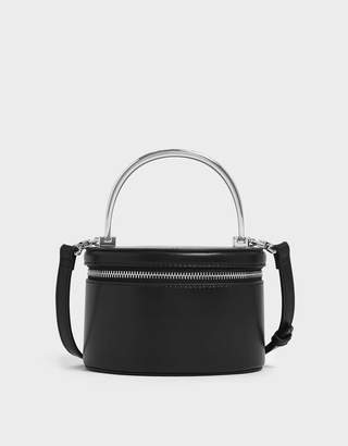 Charles & Keith Metal Top Handle Houndstooth Print Round Structured Bag