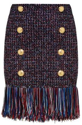 Balmain Fringed Tweed Skirt - Womens - Navy Multi