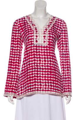 Tory Burch Tie-Dye Embroidered Blouse