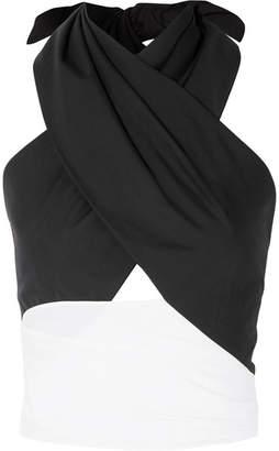 Tome Cutout Cotton-poplin Wrap Top - Black