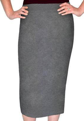 462d964e526 Kosher Casual Women s Modest Midi Lightweight Cotton Lycra Tapered Pencil  Skirt Extra Large