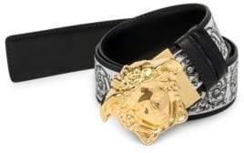 Versace Men's Medusa Reversible Printed Leather Belt - Black White - Size 85 (30)
