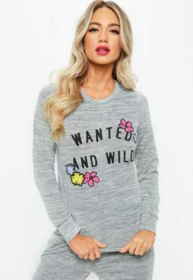 Missguided Gray Printed Lounge Tracksuit