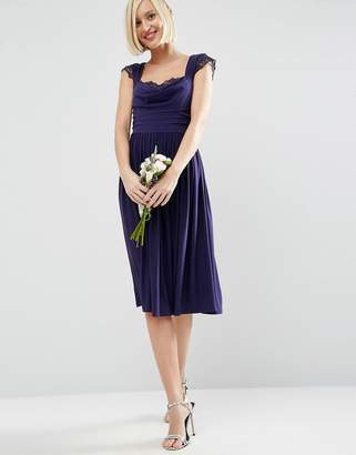 Asos DESIGN Bridesmaid lace insert cowl midi dress