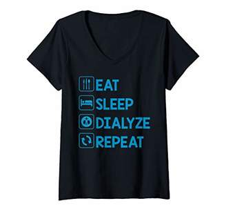 Womens Eat Sleep Dialyze Repeat Dialysis Nurse Graduation Gifts V-Neck T-Shirt