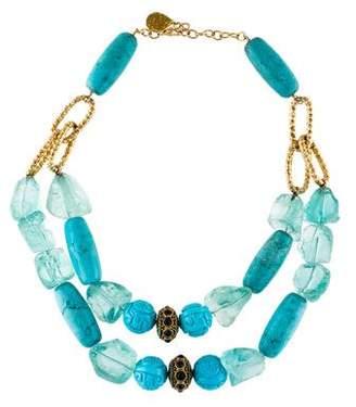 Devon Leigh Turquoise & Glass Double Strand Neckalce