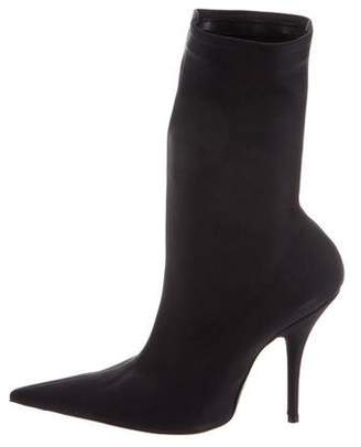 Balenciaga Knife Satin Pointed-Toe Boots